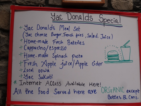 Yak Donald's Menu