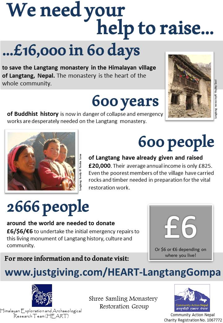 To donate please go to: http://www.justgiving.com/HEART-LangtangGompa or if you're in the UK text 'GOMP99', with your donation quantity to 70070.