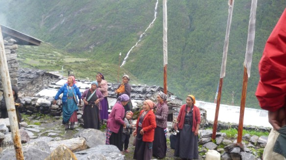 People gathering at the Langtang Gompa